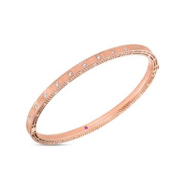 Roberto Coin 18K Rose Gold Diamond Symphony Princess Bangle, 48x58mm
