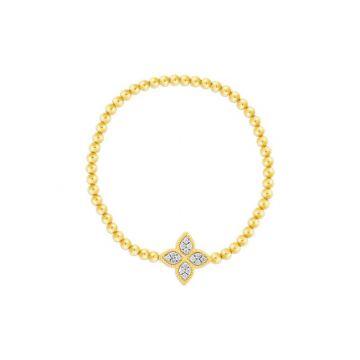 Roberto Coin 18K Yellow and White Gold Diamond Princess Flower Bracelet, Petite