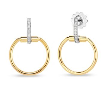 Roberto Coin 18K Yellow and White Gold Diamond Classic Parisienne Earring, 22mm