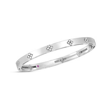 Roberto Coin 18K White Gold Diamond Love in Verona Bangle, 48x58mm