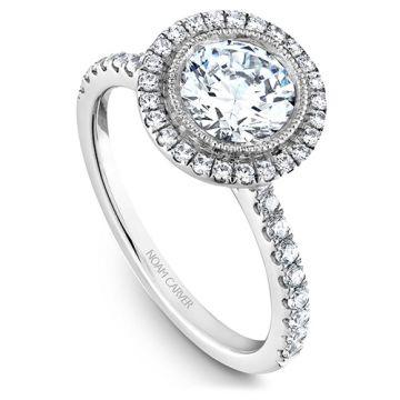 Noam Carver 14k White Gold Halo Diamond Engagement Ring