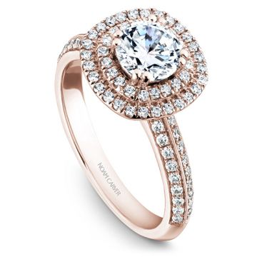 Noam Carver 14k Rose Gold Double Halo Diamond Engagement Ring