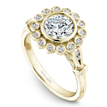 Noam Carver 14k Yellow Gold Floral Diamond Engagement Ring