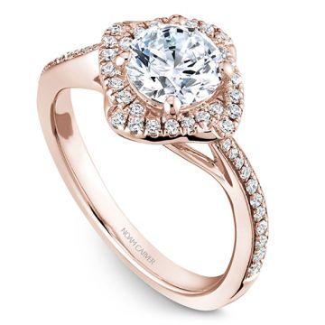 Noam Carver 14k Rose Gold Floral Diamond Engagement Ring
