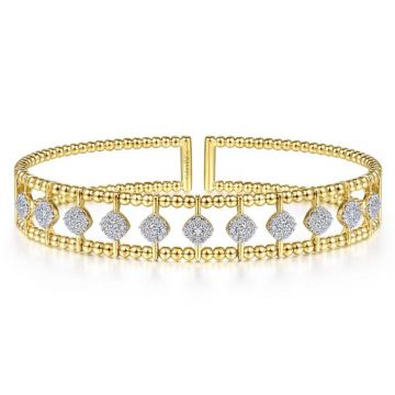 Gabriel & Co. 14k Yellow Gold Bujukan Diamond Bangle Bracelet