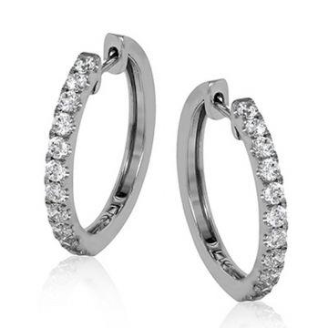 Simon G. 18k White Gold Modern Enchantment Diamond Hoop Earrings