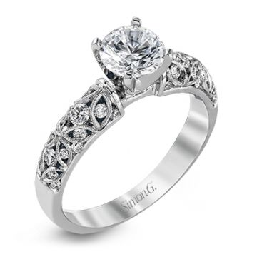 Simon G. 18k White Gold Delicate Diamond Straight Engagement Ring