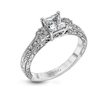 Simon G. 18k White Gold Vintage Explorer Diamond Sidestone Engagement Ring