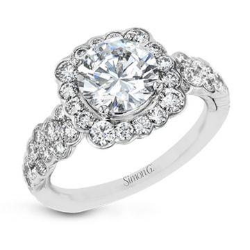 Simon G. 18k White Gold Modern Enchantment Diamond Halo Engagement Ring