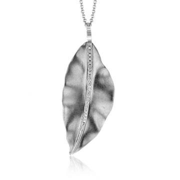 Simon G. 18k White Gold Fallen Leaves Pendant
