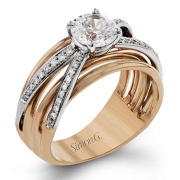 Simon G. 18k Two Tone Gold Classic Romance Criss Cross Diamond Engagement Ring