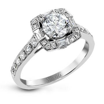 Simon G. 18k White Gold Vintage Explorer Diamond Halo Engagement Ring