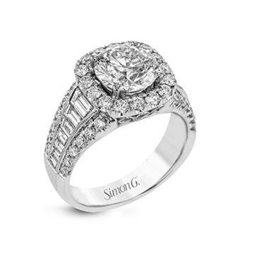 Simon G. 18k White Gold Passion Diamond Halo Engagement Ring