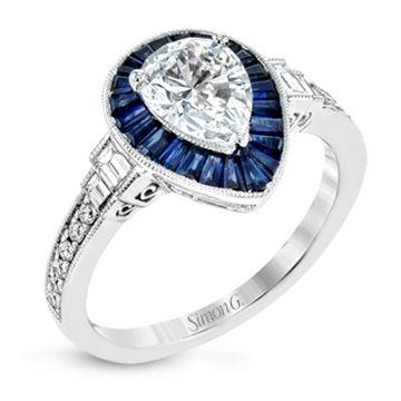 Simon G. 18k White Gold Classic Romance Diamond Halo Engagement Ring