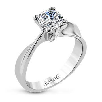 Simon G. 18k White Gold Classic Romance Solitaire Engagement Ring