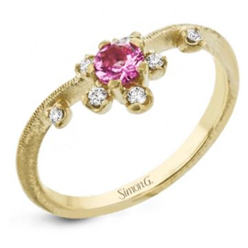 Simon G. 18k White Gold Paradise Color Ring, Size 7