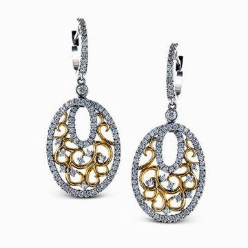 Simon G. 18k Two-Tone Gold Diamond Earrings