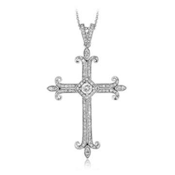 Simon G. 18k White Gold Diamond Cross Pendant