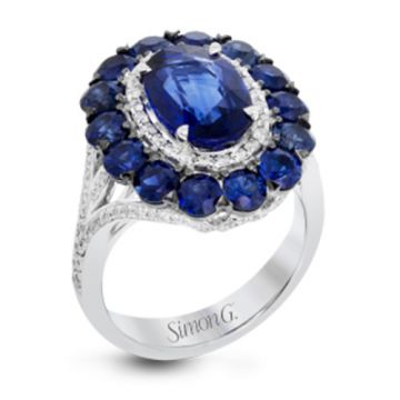 Simon G. 18k White Gold Diamond and Sapphire Ring