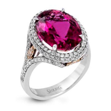 Simon G. 18k Two Tone Gold Diamond & Rubellite Ring