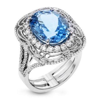 Simon G. 18k White Gold Diamond & Aquamarine Ring