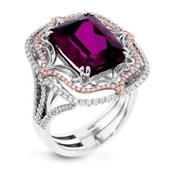Simon G. 18k White Gold Diamond & Rubellite Ring