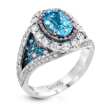 Simon G. 18k White Gold Diamond and Tourmaline Ring