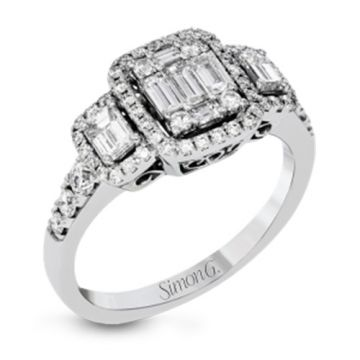 Simon G. 18k White Gold 3 Stone Halo Engagement Ring