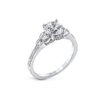 Simon G. 18k White Gold Diamond 3 Stone Engagement Ring
