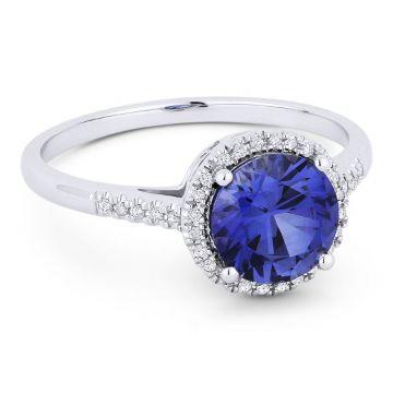 14K Gold Created Sapphire & Diamond  Rings