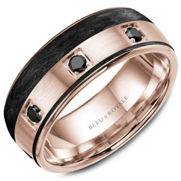 Bleu Royale 14k Rose Gold & Black Carbon Diamond Wedding Band