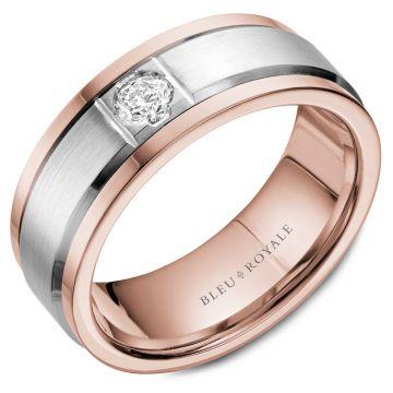 Bleu Royale 14k Gold Two Tone Diamond Wedding Band