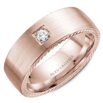 Bleu Royale 14k Rose Gold Diamond Wedding Band