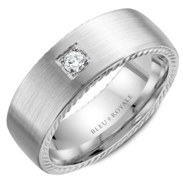 Bleu Royale 14k White Gold Diamond Wedding Band