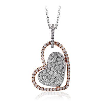 Simon G. 18k Two Tone Gold Diamond Heart Pendant