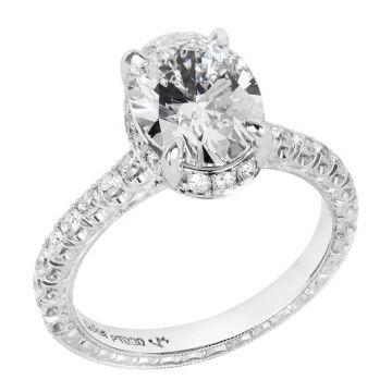 Jack Kelege 18k White Gold Halo Engagement Ring