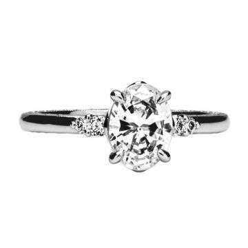 Jack Kelege 18k White Gold 3 Stone Engagement Ring