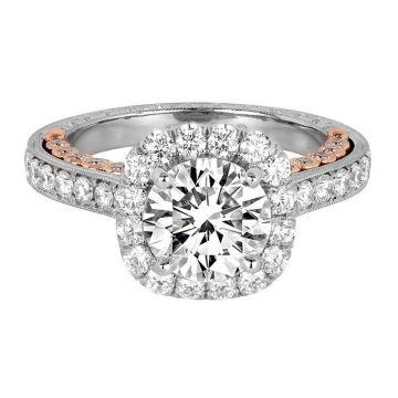 Jack Kelege Platinum Halo Engagement Ring