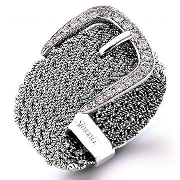 Simon G 18k White Gold 0.19ct Diamond Right Hand Ring