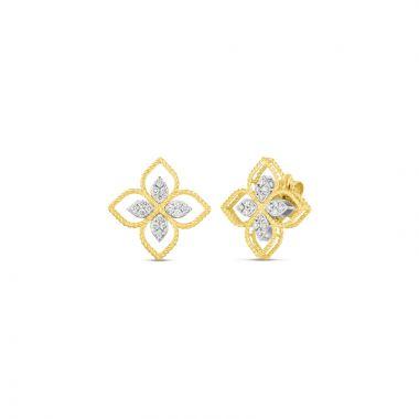 Roberto Coin 18k Yellow Gold Princess Flower Diamond Stud Earrings