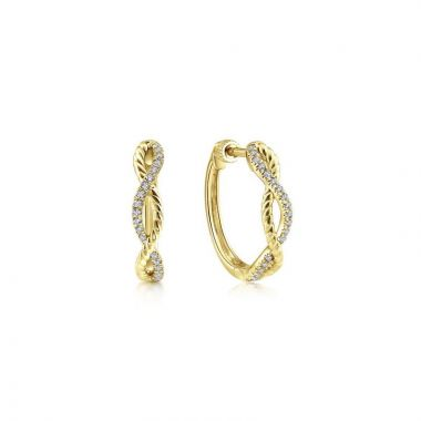 Gabriel & Co. 14k Yellow Gold Hampton Diamond Huggie Earrings