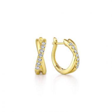 Gabriel & Co. 14k Yellow Gold Contemporary Diamond Huggie Earrings