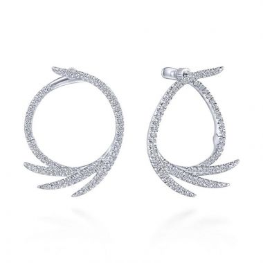 Gabriel & Co. 14k White Gold Kaslique Diamond Hoop Earrings