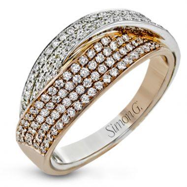 Simon G. 18k Rose & White Gold Clio Right Hand Ring, Size 7