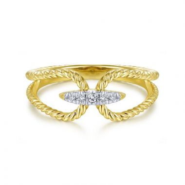 Gabriel & Co. 14k Yellow Gold Hampton Diamond Ring