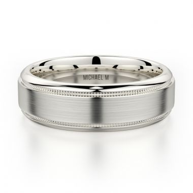Michael M 14k White Gold Classic Men's Wedding Band