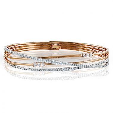 Simon G. 18k Two Tone Gold Classic Romance Diamond Bangle Bracelet