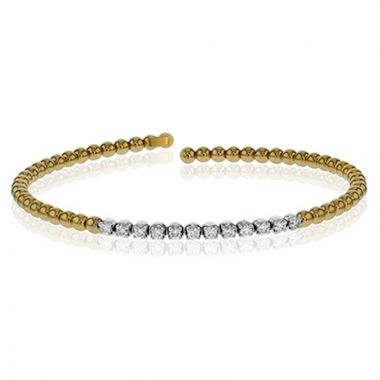 Simon G. 18k Two Tone Gold Modern Enchantment Diamond Bangle Bracelet