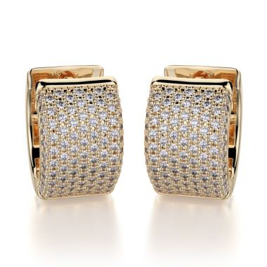 Michael M 14k Yellow Gold Diamond Hoop Earrings