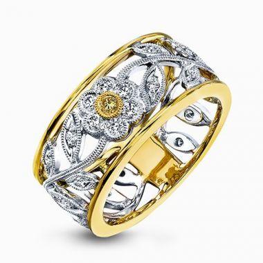 Simon G. 18k Two Tone Gold Right Hand Diamond Ring